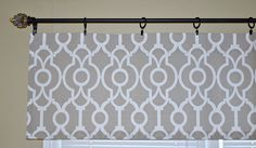 GORGEOUS Window Valance featuring Premier Prints Lyon in Backdrop Ecru Colors include Taupe and White This can be hung on Curtain Rod or use with Ring Clips (not included) Choose size from drop down menu provided ~ Do you need a custom length ? Feel free to contact me for a