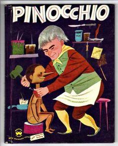 $5 PINOCCHIO-Vintage-1950s-Childrens-Wonder-Book-2614