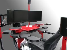 Modern Cozy Computer Workstation Ideas : Modern Ergonomic Computer Workstation And Chairs