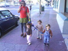 triplets walking in San Francisco
