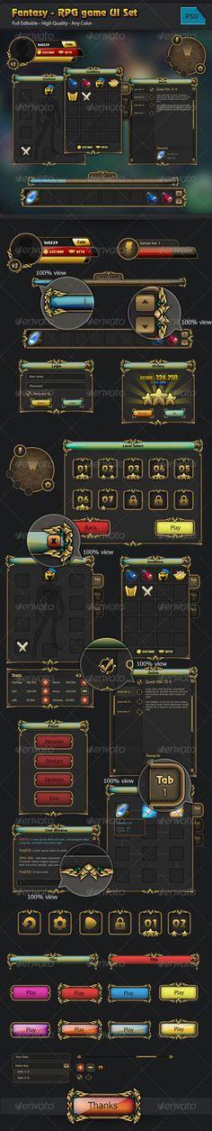Fantasy - RPG Game GUI Set - User Interfaces Web Elements