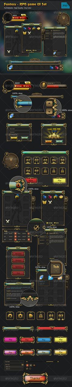 Fantasy - RPG Game GUI Set - User Interfaces Web Elements