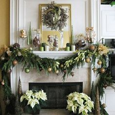 holiday mantle with swag of greens