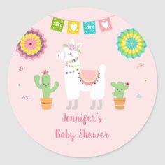 Shop Llama Fiesta Cactus Baby Shower Classic Round Sticker created by LittlePrintsParties. Baby Shower Tags, Baby Shower Parties, Shower Party, Cactus, Llama Birthday, Fiesta Party, Baby Shower Centerpieces, Round Stickers, Birthday Decorations