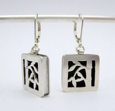 Bamboo Earrings  hand fabricated sterling silver  3/4 by marlom