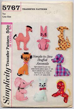 Vintage Easy Stuffed Animals Sewing Transfer Pattern Simplicity 5767 9 Soft Animal Toys Crib Toys. $7.00, via Etsy.