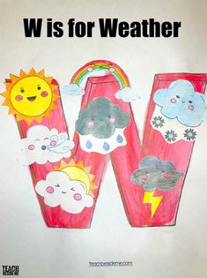 Letter of the Week: Preschool Letter W Activities W is for weather preschool craft! What a fun activity if you are doing a letter of the week theme or a weather theme this spring. Preschool Letter Crafts, Alphabet Letter Crafts, Abc Crafts, Preschool Classroom, Preschool Crafts, Kindergarten Crafts, Letter Tracing, Preschool Weekly Themes, Bone Crafts