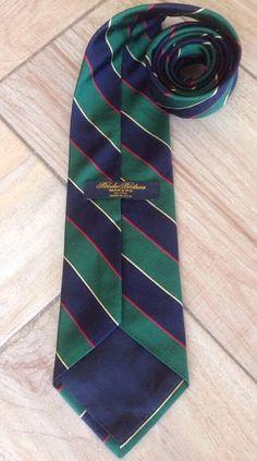 "Brooks Brothers Makers Tie Diagonal Striped 100% Silk Made USA Short 56"" Necktie #BrookBrothers #NeckTie"