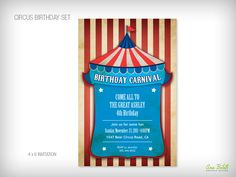 from Bottle Your Brand Circus Birthday, 4th Birthday, Big Top, Custom Invitations, Some Fun, Rsvp, Carnival, Water Bottle, Label