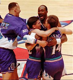 john stockton, karl malone, and jeff hornacek celebrate their game 6 win in the 1997 western conference finals that sent the jazz to the nba finals.