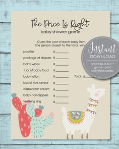 Printable Baby Shower Games Baby Shower Mad Libs, Baby Shower Candy, Baby Shower Party Supplies, Boho Baby Shower, Girl Shower, Baby Shower Parties, Baby Showers, Free Baby Shower Printables, Baby Shower Activities