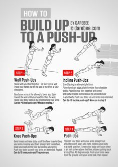 Push-Ups Guide - How to Build Up to a Push-Up - Fitness - Home Workouts - Fitnessubungsplan Fitness Workouts, Easy Workouts, At Home Workouts, Monthly Workouts, Fitness Hacks, Fitness Herausforderungen, Fitness Motivation, Health Fitness, Fitness Journal