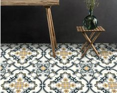 Vinyl Floor Tile Sticker   Floor Decals   Carreaux Ciment Encaustic Trefle  2 Tile Sticker Pack In Sand