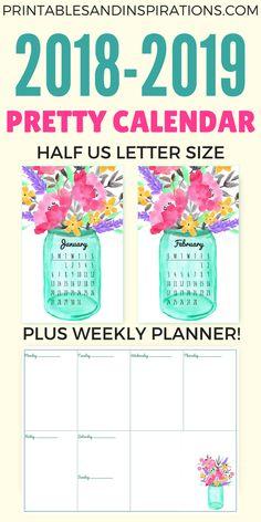 Free Printable Half Size Calendar 2018 And 2019 - Printables and Inspirations