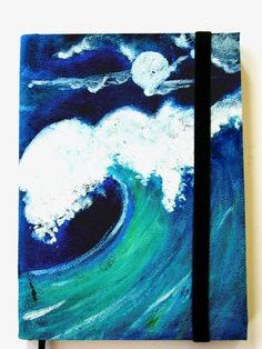 Journal Hand painted  Wave in Black Leather Notebook Handmade Cover Ruled