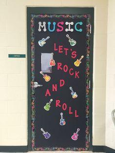 Elementary Music Classroom door.  Rock n Roll.
