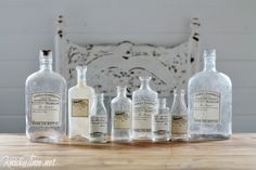 DIY Antique Style Apothecary Bottles with Free Printable Labels at KnickofTime.net