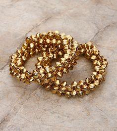 Haya by Shubhi Kansal - E - L - Brands ghungroo kangan Bridal Bangles, Silver Bangles, Bridal Jewelry, Thread Bangles, Thread Jewellery, Flower Jewelry, Indian Jewelry Sets, Silver Jewellery Indian, Indian Bangles