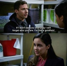 Brooklyn Nine-Nine - Jake Peralta: If I don't see you everyday I will forget who you are. Tv Show Quotes, Movie Quotes, Funny Quotes, Funny Memes, Hilarious, Tv Funny, Lyric Quotes, Quotes Quotes, Funny Stuff