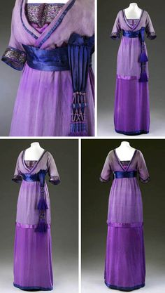Evening dress, Lucile, Britain or France, ca. 1910-15. Purple silk overlaid with purple silk chiffon & satin. With pleated satin waistband & 2 purple silk tassels at side of hip. Bodice draped with chiffon, elbow-length sleeves, & inner bodice bust & back trimmed with appliqué metallic purple and silver embroidery. Victoria & Albert Museum