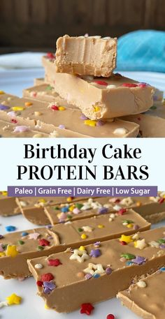 These homemade birthday cake protein bars are low carb, paleo friendly, grain free (no oats) and dairy free. They're made with almond butter, cacao butter and pea protein. This paleo protein bar recipe is easy to make and perfect for a healthy snack or on-the-go breakfast. #proteinbars #birthdaycake #paleo #lowcarb Birthday Cake Protein Bars, Healthy Birthday Cakes, Birthday Cake Flavors, Homemade Birthday Cakes, Healthy Protein Bars, Protein Bar Recipes, Protein Bites, Snack Recipes, High Protein