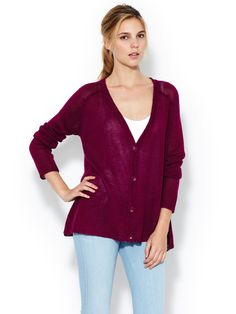 Linen Open Knit Cardigan by Central Park West at Gilt