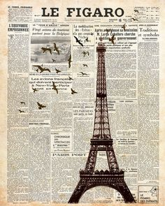 Eiffel Tower on newspaper. Paris. Wall decoration print. 8x10. FREE SHIPPING. on Etsy, $16.95