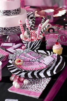 Cute Diva Zebra Print Birthday Favors! #Party #BirthdayExpress awesome ideas for nene pink and yellow princess girl baby shower