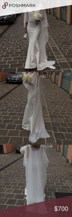 Custom made evening gown Ivory ponte knit mermaid gown with horsehair hemline with a train. This gown is a one of a kind Custom made by Jovani for me to wear at my sisters wedding. Cape is included. Worn for a few hours. Looks brand new. Jovani Dresses Wedding