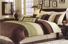 High Quality 8 piece Faux Silk Comforter Set Bedding-in-a-bag, Sage Green - Queen by OctoRose. $69.95. included comforter, pillow sham(2), euro sham(2), cushion, bedskirt and neckroll. backing: 65% polyester. 35% cotton. facing: 100% polyester. Material: 100% Polyester faux silk. Easy Machine Washing cold. Brand New 7pcs Luxioury MicroSuede in Sage Green / Brown / Beige, Aqua Blue / Brown / Beige, Black / Brown / Beige, Purple / Lavender /Beige,stripe design Comfort...