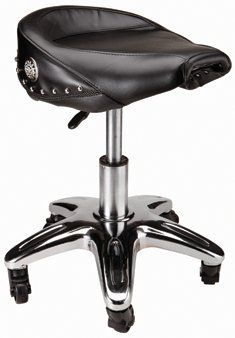 """Pneumatic Bikers Stool & Shop Seat by US GENERAL. $115.00. 5 Heavy duty 2-1/2"""" ball bearing casters. Pneumatic one hand height adjustment. Synthetic leather motorcycle style seat. Seat swivels 360 degrees. Seat adjusts from 18"""" to 23"""". Alltrade Motorcycle Saddle Stool  This stool is perfect for your home, bar or in the garage. It swivels 360 degrees and features wheels and stationary feet.  Product Features:  Seat swivels 360 degrees  Pneumatic one hand height..."""