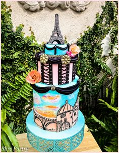 Designed in honor of my mother and using molds made from her jewelry. This is my second Paris cake in her memory as Paris was her favorite city and our trip there together very special to me.