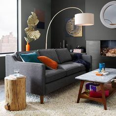 West Elm offers modern furniture and home decor featuring inspiring designs and colors. Create a stylish space with home accessories from West Elm. West Elm, 1950s Furniture, Modern Furniture, Tree Stump Side Table, Tree Table, Side Tables, Hamilton Sofa, Sofas, Oversized Furniture