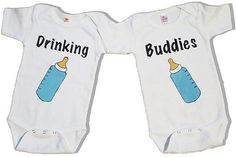 twins boy and girl baby outfits | Catalog > Twin Drinking Buddies - Boy or Girl