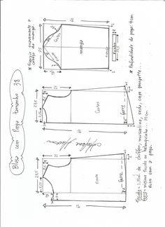 Patrón de una bonita Blusa plisada con mangas. Tallas desde la 36 hasta la 56.
