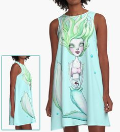 'Miss Mermie and Her Pet Fish (Blue and Green Version)' A-Line Dress by LittleMissTyne Mermaid Gifts, Pet Fish, Cotton Tote Bags, Chiffon Tops, Classic T Shirts, Lovers, Gift Ideas, Summer Dresses, Pets