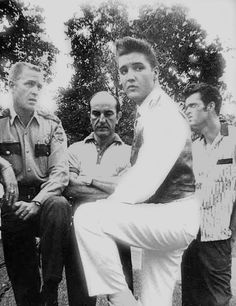 Elvis after his mother's funeral on August 16, 1958; local policeman offer to give Elvis a ride in their helicopter to hopefully cheer Him up.
