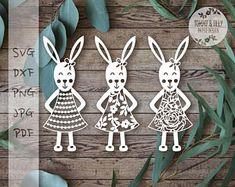 Bunnies x 3 SVG PDF DXF Jpg Png Design - Papercutting Vinyl Template Commercial Use - nursery papercut - new baby papercut
