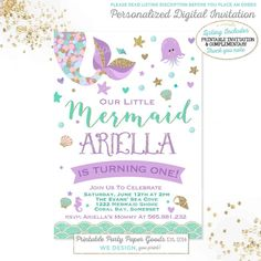 Mermaid Invitation Mermaid Birthday by PixelPerfectionParty