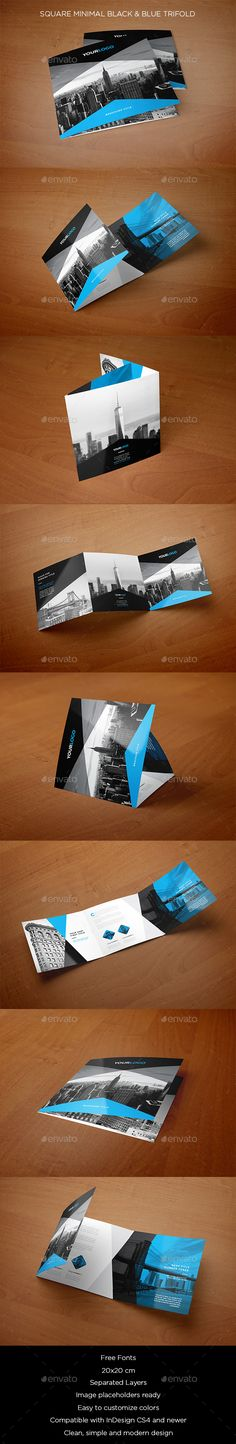 Square Minimal Black & Blue Trifold Brochure Template PSD #design Download: http://graphicriver.net/item/square-minimal-black-blue-trifold/13830803?ref=ksioks