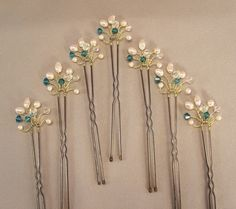 Custom Wedding Hair Accessories, Gold Handwired Bridal Hair Pins, Indicolite Crystal, Freshwater Pearls and Crystal, Wedding Hair Pins