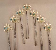 Custom Wedding Hair Accessories, Gold Handwired Bridal Hair Pins, Indicolite Crystal, Freshwater Pearls and Crystal, Wedding Hair Pins