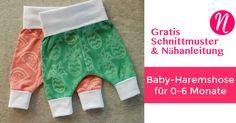 Freebook Baby-Haremshose ❤ Kostenloses Schnittmuster zum Ausdrucken ❤ leicht und einfach zu nähen ❤ 0 - 6 Monate ✂️ Nähtalente - Das Magazin für Hobbyschneider/innen mit Schnittmuster-Datenbank ✂️