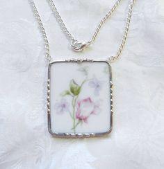 Broken China Jewelry Pendant Elite Works Limoges by TreasuresAnew, $32.00