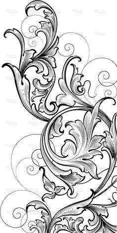 Scrollwork Corner Cluster hand engraving swirls