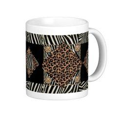 Abstract Gemstone Zebra and Leopard Print Mug
