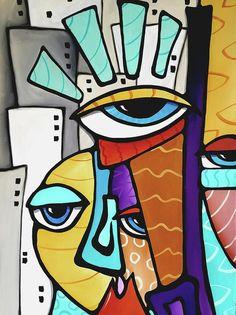 Abstract painting LOVE pop Modern Faces Original Canvas Wall Art by Fidostudio Tom Fedro, Pop Art Collage, Cubist Art, Frida Art, Modern Art Movements, Art Africain, Contemporary Abstract Art, Watercolor Artists, Arte Floral