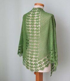 Green lace silk crochet shawl by Berniolie on Etsy, $85.00