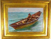 "Graves Abbott Fuller- Original Oil on Canvas painting titled ""Maine Fisherman"" - signed by the artist,   scene off Kennebunkport , Maine  ...on Ruby Lane"
