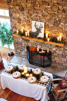 Country Christmas Party - Note to self: DIY the silloette (not sure how to spell this word) on the mantle.